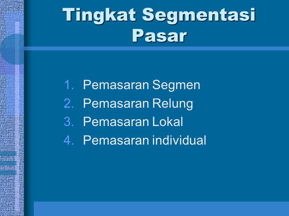 Tingkat Segmentasi Pasar 1.Pemasaran Segmen 2.Pemasaran Relung 3.Pemasaran Lokal 4.Pemasaran individual