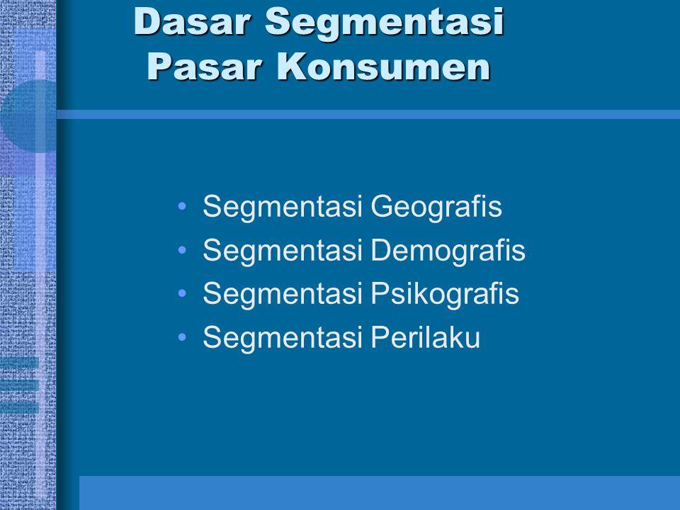 Dasar Segmentasi Pasar Konsumen Segmentasi Geografis Segmentasi Demografis Segmentasi Psikografis Segmentasi Perilaku