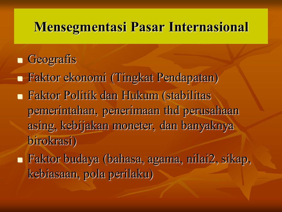 Mensegmentasi Pasar Internasional Geografis Geografis Faktor ekonomi (Tingkat Pendapatan) Faktor ekonomi (Tingkat Pendapatan) Faktor Politik dan Hukum