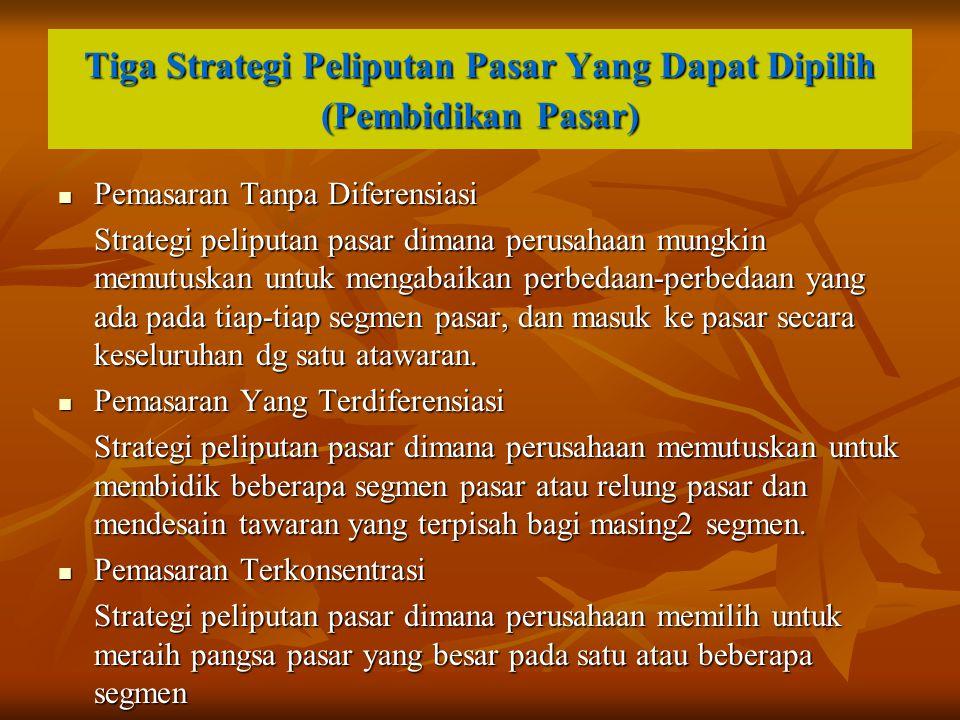 Tiga Strategi Peliputan Pasar Yang Dapat Dipilih (Pembidikan Pasar) Pemasaran Tanpa Diferensiasi Pemasaran Tanpa Diferensiasi Strategi peliputan pasar