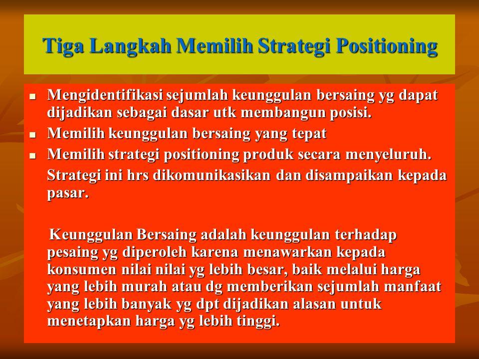 Tiga Langkah Memilih Strategi Positioning Mengidentifikasi sejumlah keunggulan bersaing yg dapat dijadikan sebagai dasar utk membangun posisi. Mengide