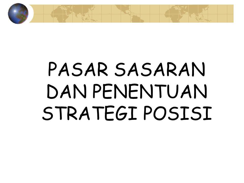 Strategi Pasar Sasaran Faktor-faktor yang mempengaruhi keputusan penentuan sasaran Tahap Kematangan pasar Besarnya diversifikasi pembeli Struktur dan Intensitas persaingan Sumber daya dan kemampuan korporasi Keunggulan kompetitif