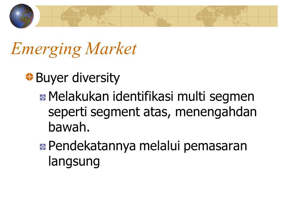 Emerging Market Buyer diversity Melakukan identifikasi multi segmen seperti segment atas, menengahdan bawah.