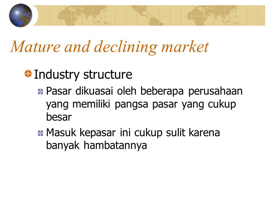Mature and declining market Industry structure Pasar dikuasai oleh beberapa perusahaan yang memiliki pangsa pasar yang cukup besar Masuk kepasar ini cukup sulit karena banyak hambatannya