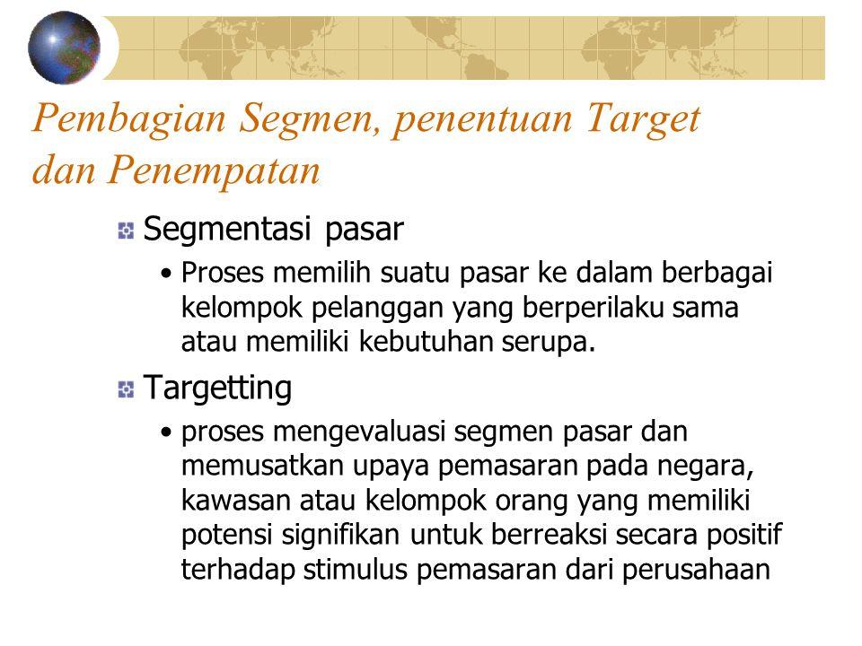 Pembagian Segmen, penentuan Target dan Penempatan Segmentasi pasar Proses memilih suatu pasar ke dalam berbagai kelompok pelanggan yang berperilaku sama atau memiliki kebutuhan serupa.