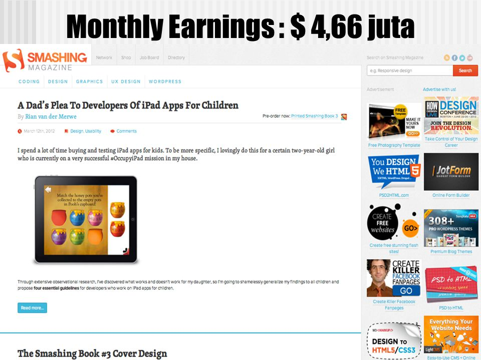 Monthly Earnings : $ 4,66 juta