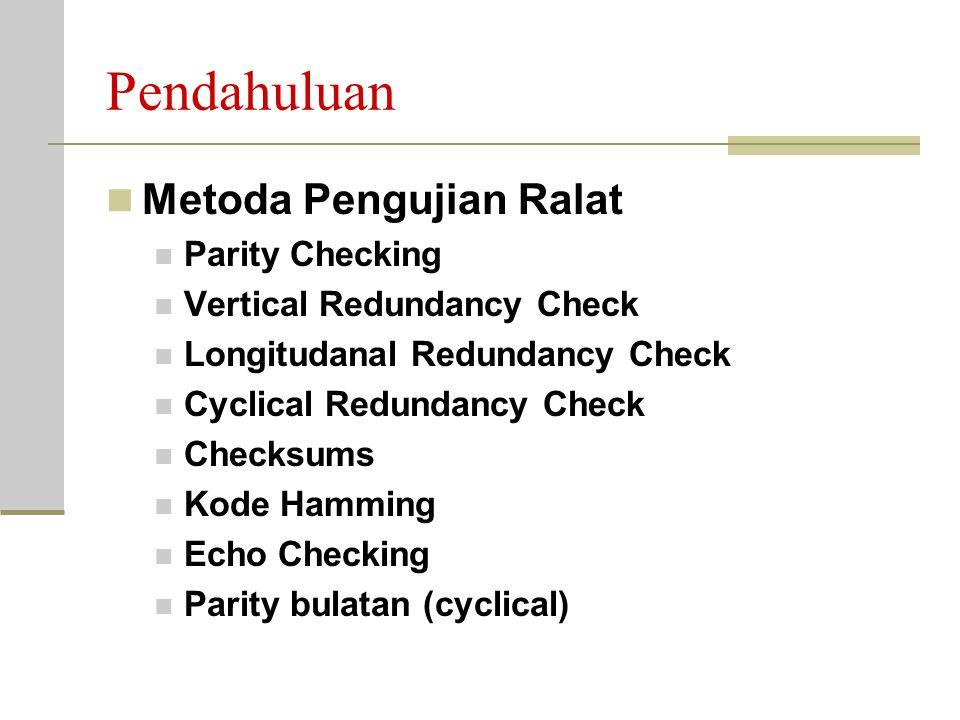 Pendahuluan Metoda Pengujian Ralat Parity Checking Vertical Redundancy Check Longitudanal Redundancy Check Cyclical Redundancy Check Checksums Kode Hamming Echo Checking Parity bulatan (cyclical)