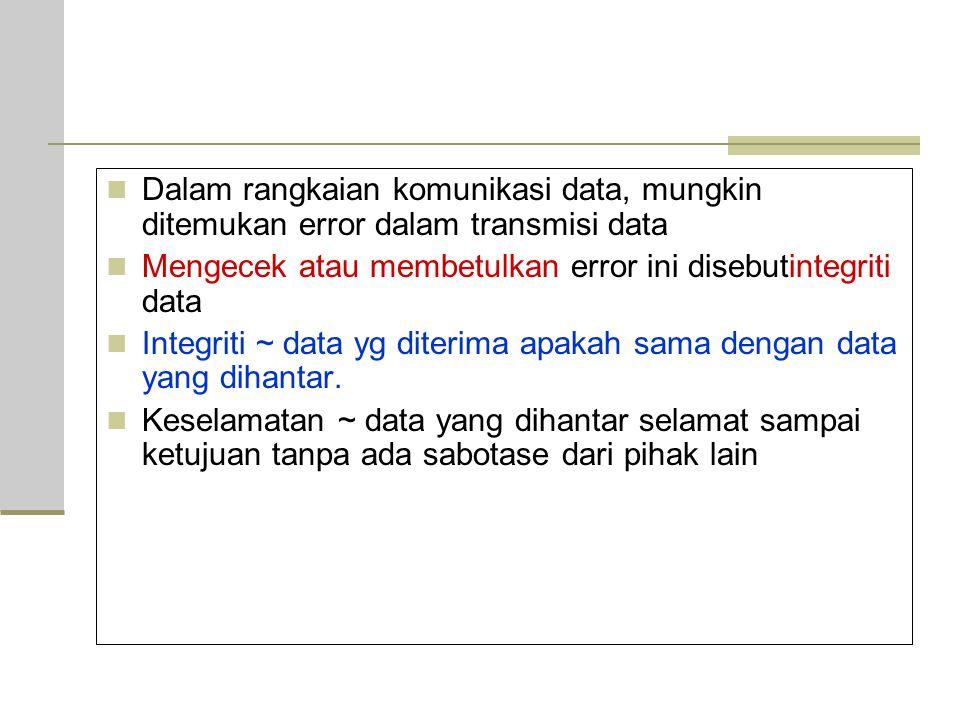 Dalam rangkaian komunikasi data, mungkin ditemukan error dalam transmisi data Mengecek atau membetulkan error ini disebutintegriti data Integriti ~ data yg diterima apakah sama dengan data yang dihantar.