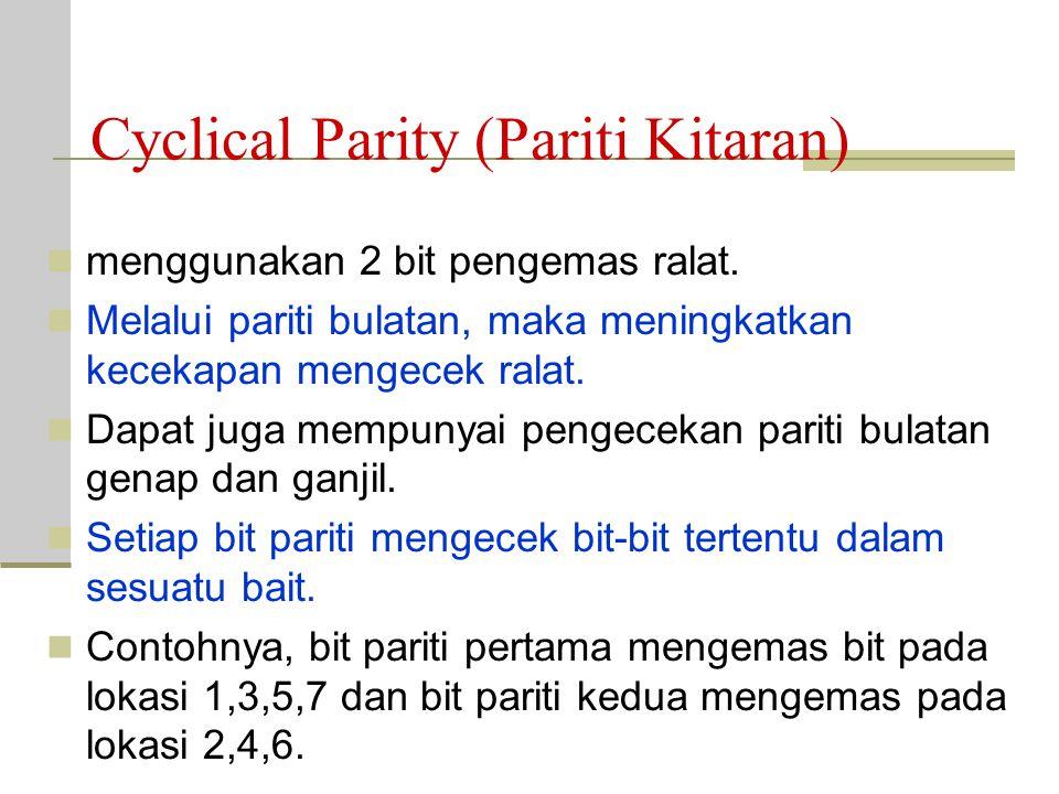 Andaikan hamming code menggunakan pariti genap dan bit yg dihantar mengandungi ralat pariti 1 (P1) dan pariti 8 (P8) mencek dan mendapatkan bil. bit 1