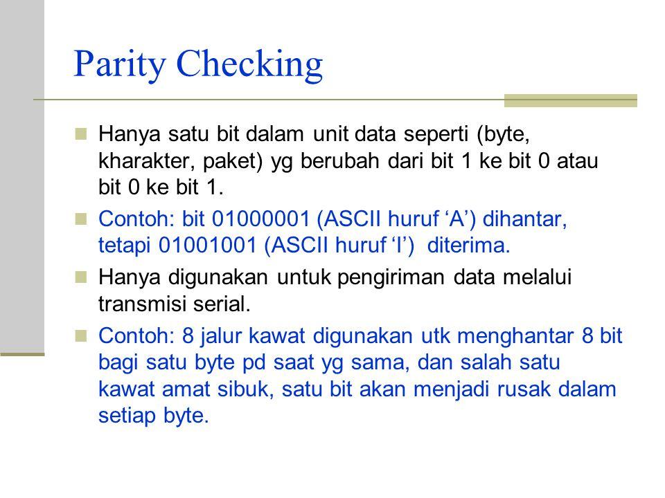 Parity Checking Hanya satu bit dalam unit data seperti (byte, kharakter, paket) yg berubah dari bit 1 ke bit 0 atau bit 0 ke bit 1.