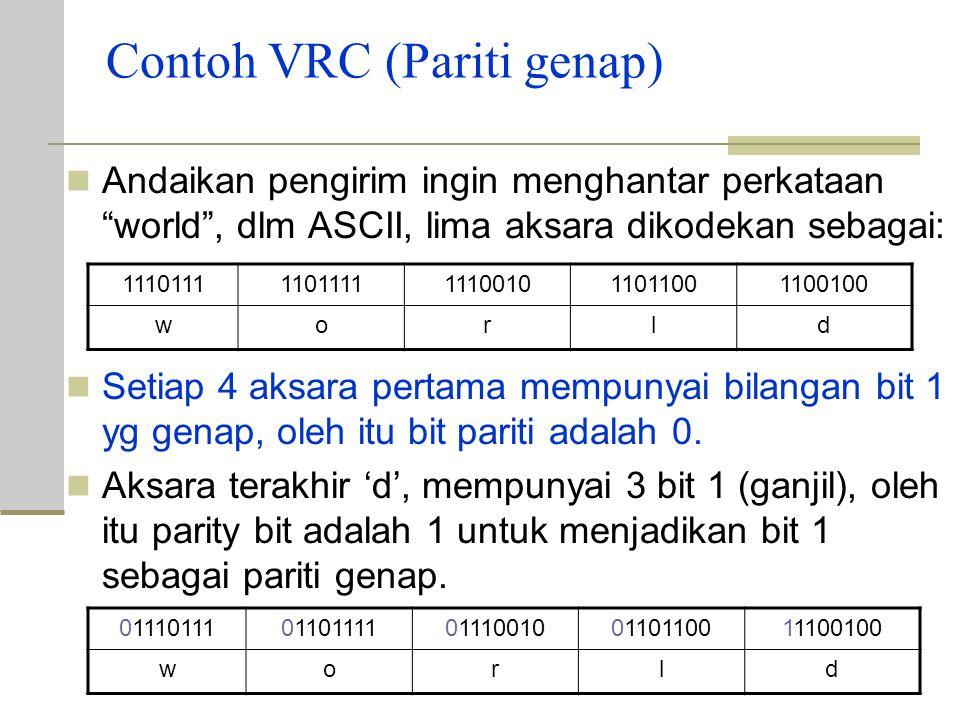 Contoh VRC (Pariti genap) Andaikan pengirim ingin menghantar perkataan world , dlm ASCII, lima aksara dikodekan sebagai: Setiap 4 aksara pertama mempunyai bilangan bit 1 yg genap, oleh itu bit pariti adalah 0.