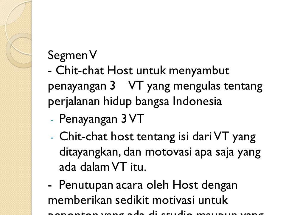 Segmen V - Chit-chat Host untuk menyambut penayangan 3 VT yang mengulas tentang perjalanan hidup bangsa Indonesia - Penayangan 3 VT - Chit-chat host t