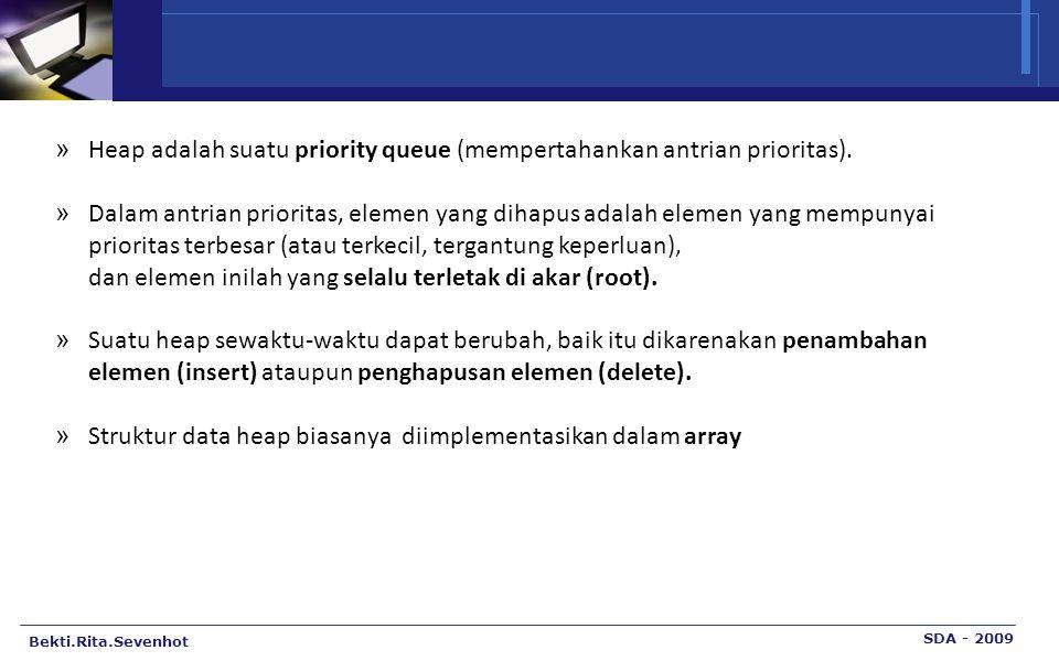 Bekti.Rita.Sevenhot SDA - 2009 » Heap adalah suatu priority queue (mempertahankan antrian prioritas).