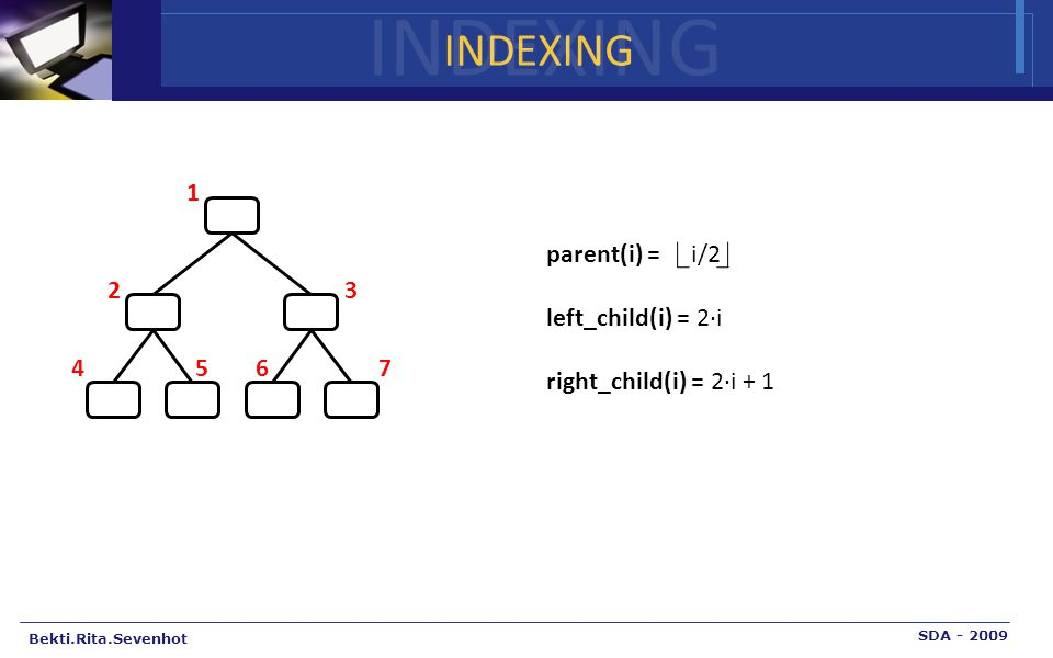 INDEXING Bekti.Rita.Sevenhot SDA - 2009 INDEXING parent(i) = i/2 left_child(i) = 2·i right_child(i) = 2·i + 1 1 2 3 4567