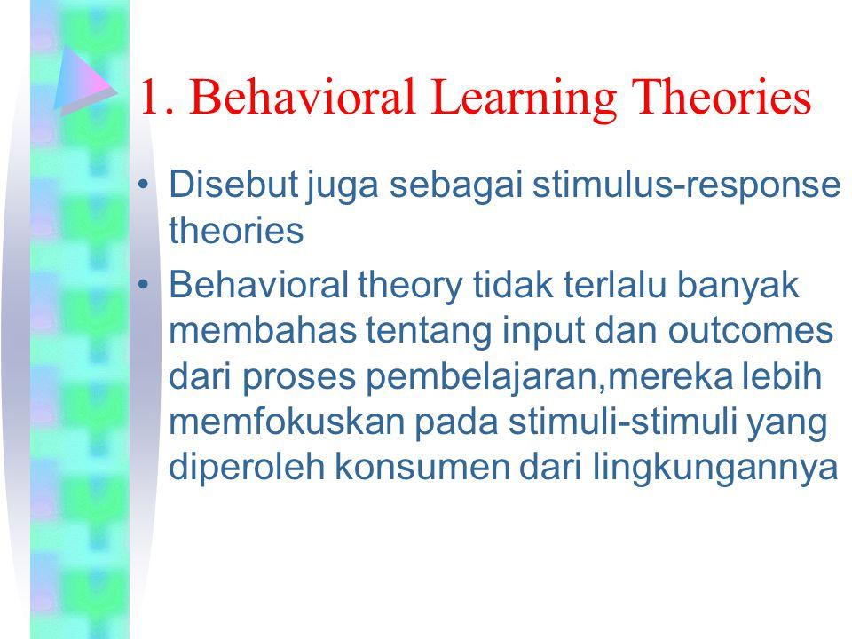 1. Behavioral Learning Theories Disebut juga sebagai stimulus-response theories Behavioral theory tidak terlalu banyak membahas tentang input dan outc
