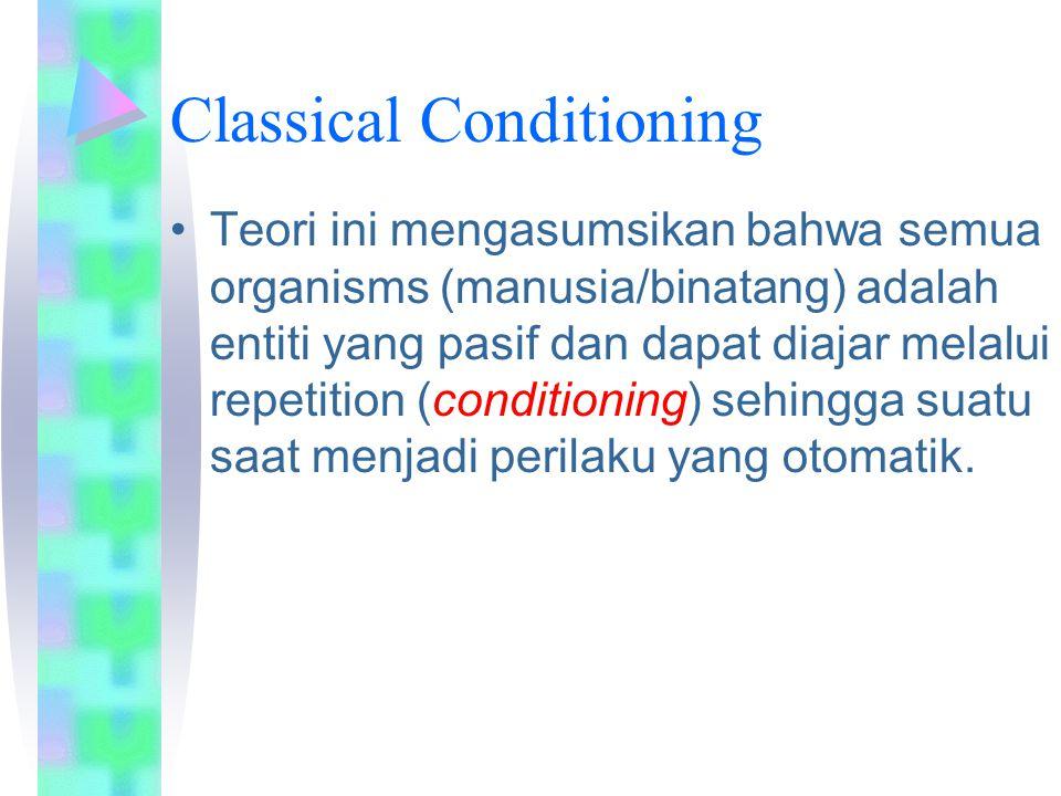 Classical Conditioning Teori ini mengasumsikan bahwa semua organisms (manusia/binatang) adalah entiti yang pasif dan dapat diajar melalui repetition (