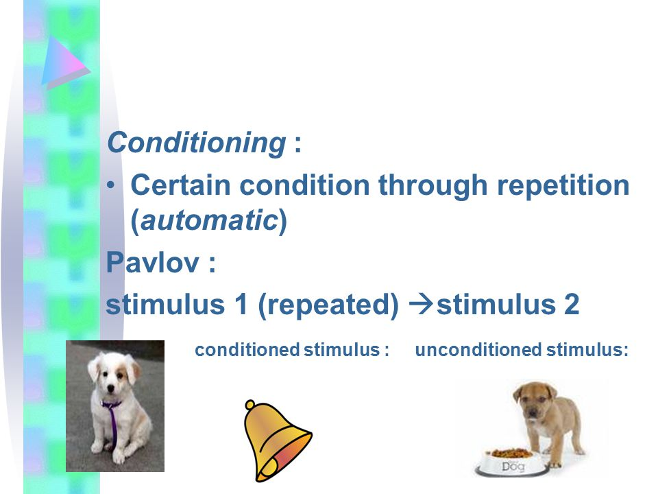 Conditioning : Certain condition through repetition (automatic) Pavlov : stimulus 1 (repeated)  stimulus 2 conditioned stimulus : unconditioned stimulus: