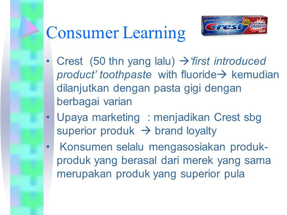 Consumer Learning Crest (50 thn yang lalu)  'first introduced product' toothpaste with fluoride  kemudian dilanjutkan dengan pasta gigi dengan berba