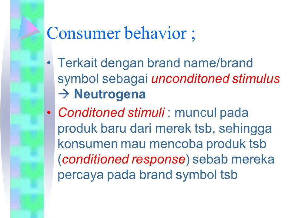 Consumer behavior ; Terkait dengan brand name/brand symbol sebagai unconditoned stimulus  Neutrogena Conditoned stimuli : muncul pada produk baru dar