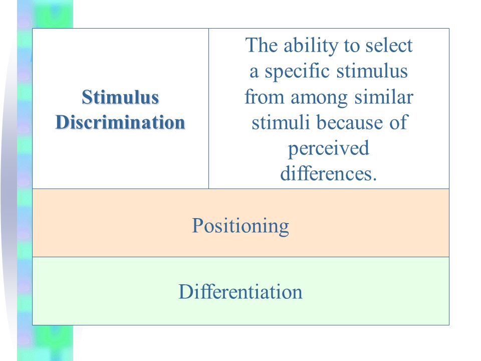 Stimulus Discrimination The ability to select a specific stimulus from among similar stimuli because of perceived differences.