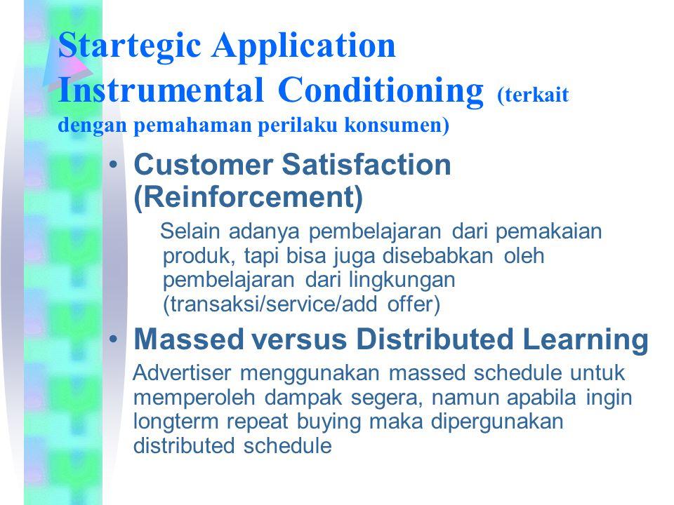 Startegic Application Instrumental Conditioning (terkait dengan pemahaman perilaku konsumen) Customer Satisfaction (Reinforcement) Selain adanya pembe