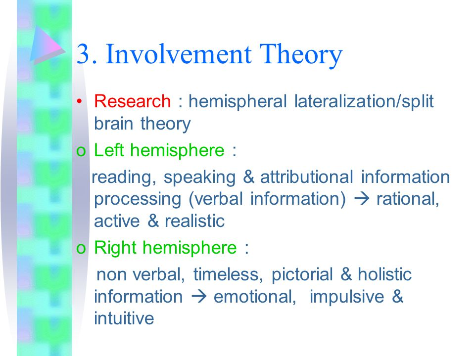 3. Involvement Theory Research : hemispheral lateralization/split brain theory oLeft hemisphere : reading, speaking & attributional information proces