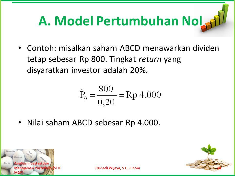 Contoh: misalkan saham ABCD menawarkan dividen tetap sebesar Rp 800. Tingkat return yang disyaratkan investor adalah 20%. Nilai saham ABCD sebesar Rp