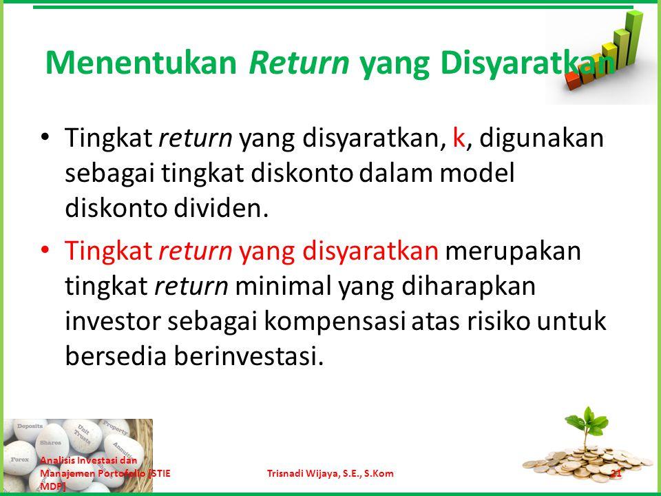 k = tingkat return bebas risiko + premi risiko Untuk berinvestasi pada aset yang berisiko, investor akan mensyaratkan adanya tambahan return sebagai premi risiko.