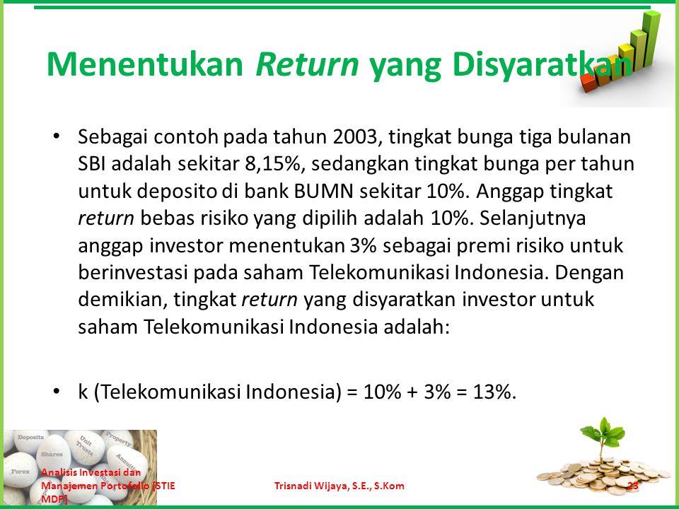 k = k RF +  (k M – k RF ) Cara lain untuk menentukan tingkat return yang disyaratkan adalah menggunakan CAPM: Menentukan Return yang Disyaratkan 24Trisnadi Wijaya, S.E., S.Kom Analisis Investasi dan Manajemen Portofolio [STIE MDP]
