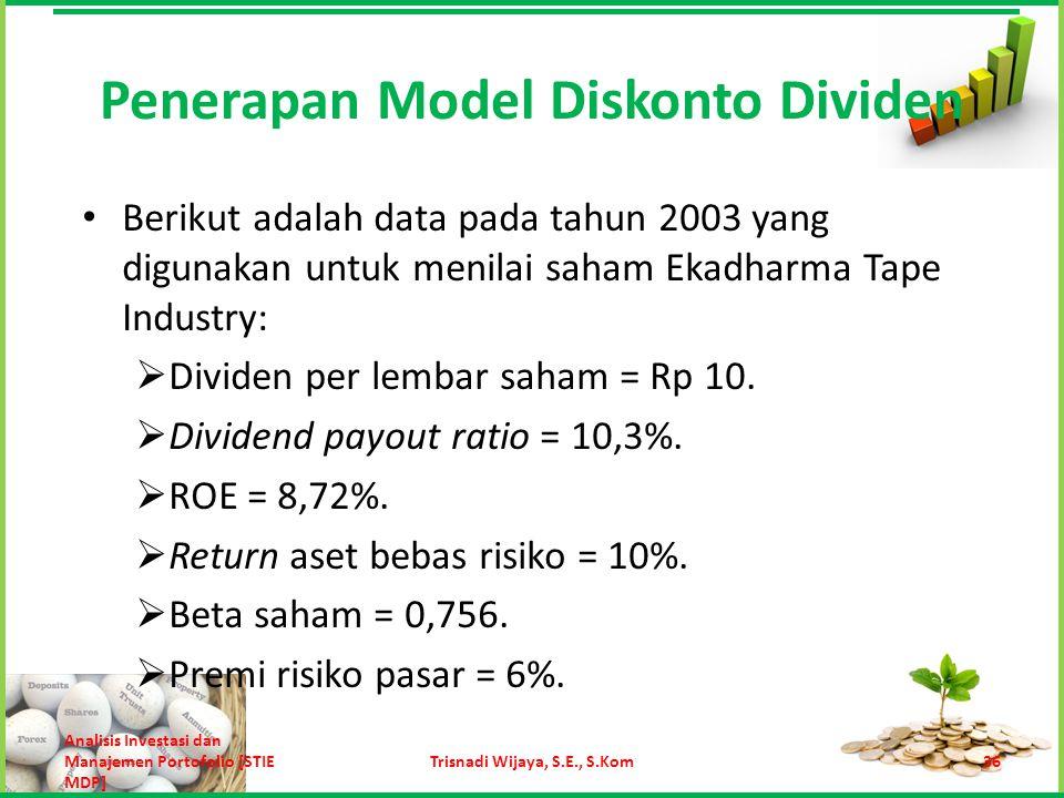 Dengan menggunakan CAPM, tingkat return yang disyaratkan adalah 10% + 0,756 x 6% = 15,292%.