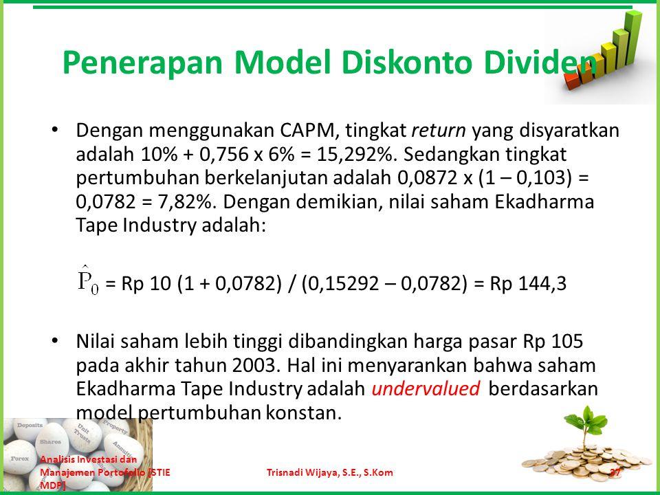 Dengan menggunakan CAPM, tingkat return yang disyaratkan adalah 10% + 0,756 x 6% = 15,292%. Sedangkan tingkat pertumbuhan berkelanjutan adalah 0,0872