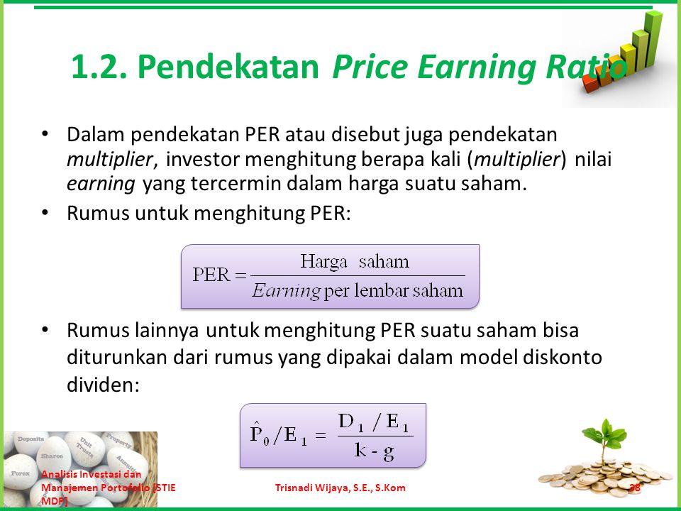 Contoh: Misalnya harga saham KLMN saat ini adalah Rp 10.000 per lembar, dan tahun ini perusahaan memperoleh earning sebesar 900 juta rupiah.