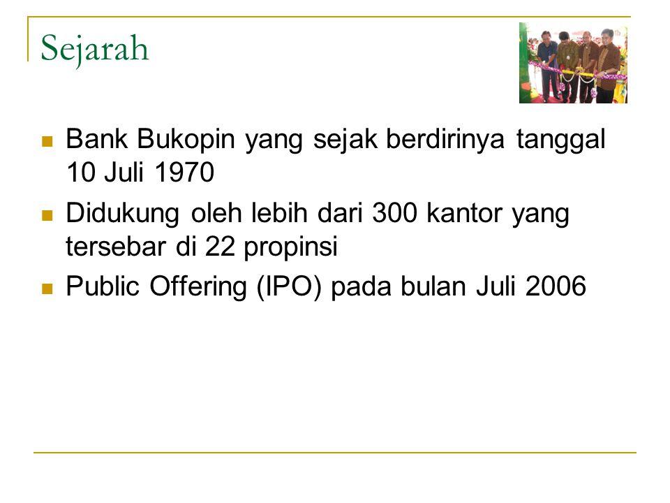 Sejarah Bank Bukopin yang sejak berdirinya tanggal 10 Juli 1970 Didukung oleh lebih dari 300 kantor yang tersebar di 22 propinsi Public Offering (IPO)