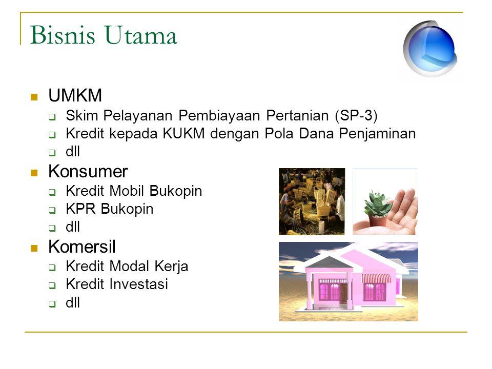 Bisnis Utama UMKM  Skim Pelayanan Pembiayaan Pertanian (SP-3)  Kredit kepada KUKM dengan Pola Dana Penjaminan  dll Konsumer  Kredit Mobil Bukopin