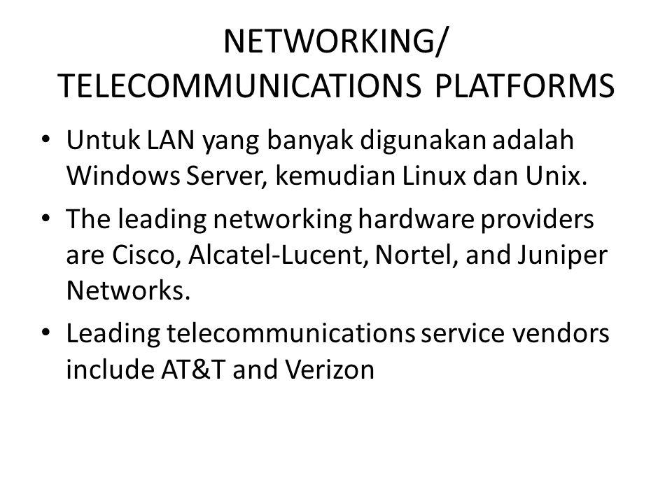 NETWORKING/ TELECOMMUNICATIONS PLATFORMS Untuk LAN yang banyak digunakan adalah Windows Server, kemudian Linux dan Unix. The leading networking hardwa