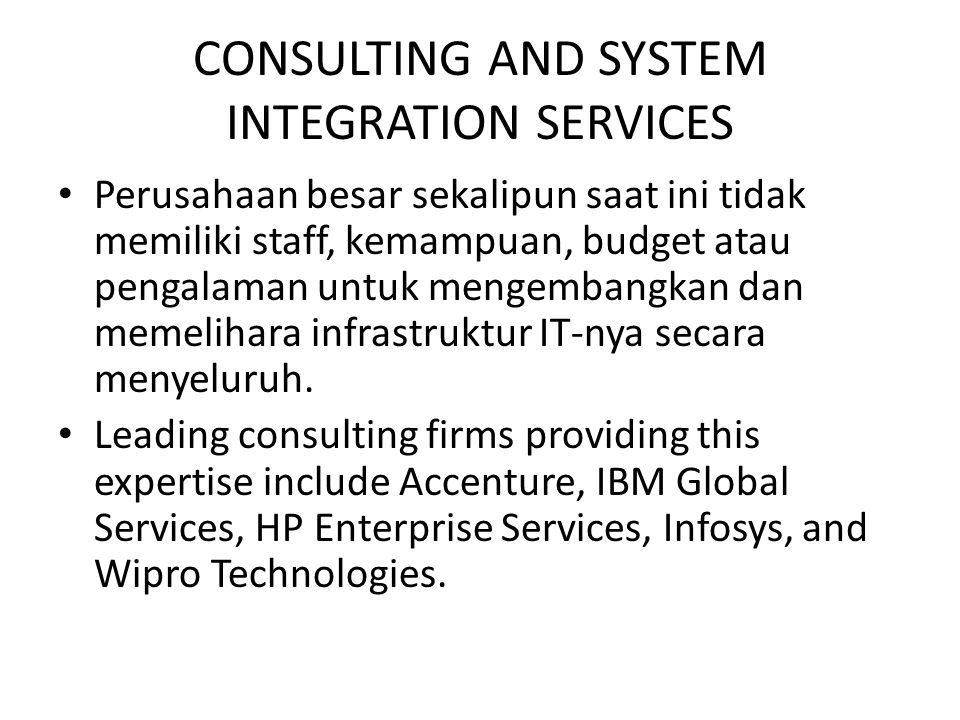 CONSULTING AND SYSTEM INTEGRATION SERVICES Perusahaan besar sekalipun saat ini tidak memiliki staff, kemampuan, budget atau pengalaman untuk mengemban
