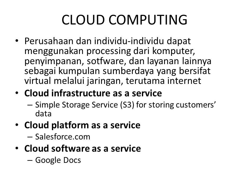 CLOUD COMPUTING Perusahaan dan individu-individu dapat menggunakan processing dari komputer, penyimpanan, sotfware, dan layanan lainnya sebagai kumpul