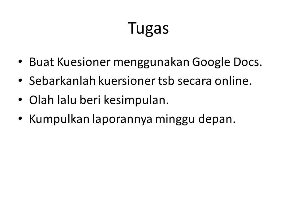 Tugas Buat Kuesioner menggunakan Google Docs. Sebarkanlah kuersioner tsb secara online. Olah lalu beri kesimpulan. Kumpulkan laporannya minggu depan.