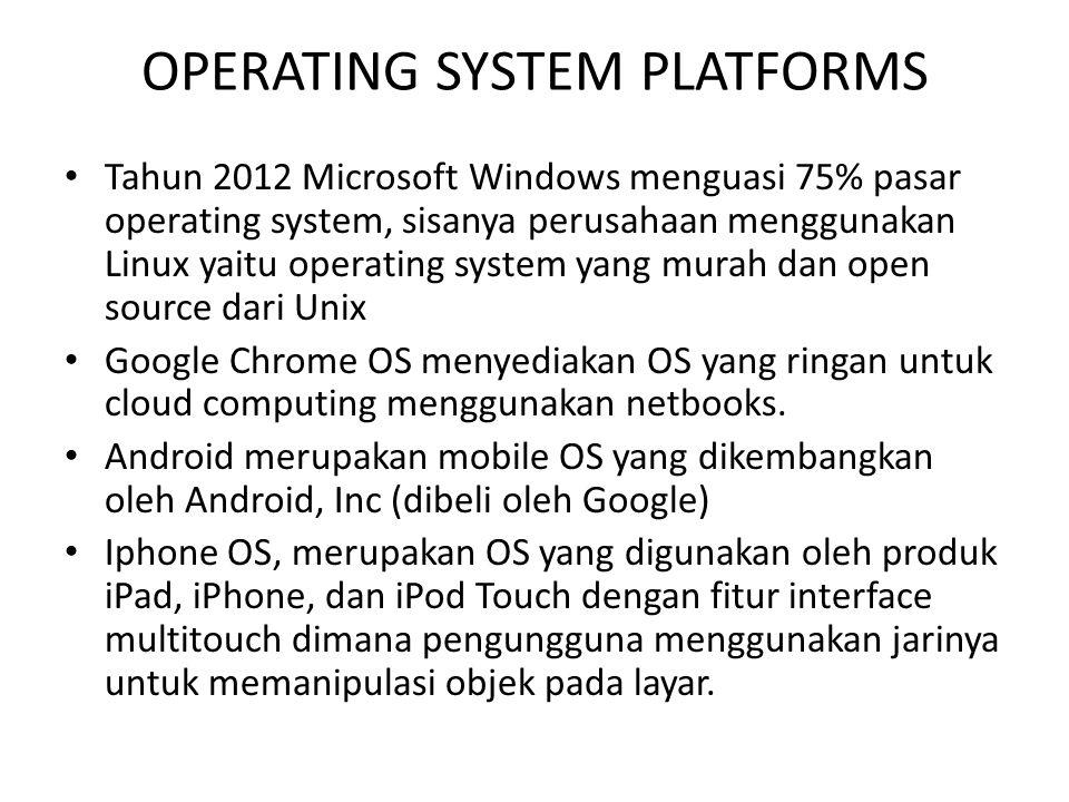 OPERATING SYSTEM PLATFORMS Tahun 2012 Microsoft Windows menguasi 75% pasar operating system, sisanya perusahaan menggunakan Linux yaitu operating syst