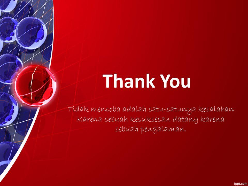 Thank You Tidak mencoba adalah satu-satunya kesalahan Karena sebuah kesuksesan datang karena sebuah pengalaman.