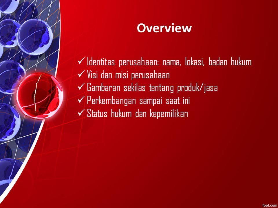 Overview Identitas perusahaan: nama, lokasi, badan hukum Visi dan misi perusahaan Gambaran sekilas tentang produk/jasa Perkembangan sampai saat ini Status hukum dan kepemilikan