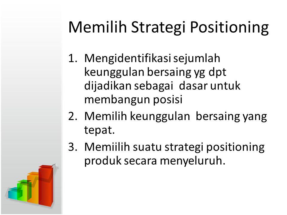Memilih Strategi Positioning 1.Mengidentifikasi sejumlah keunggulan bersaing yg dpt dijadikan sebagai dasar untuk membangun posisi 2.Memilih keunggula