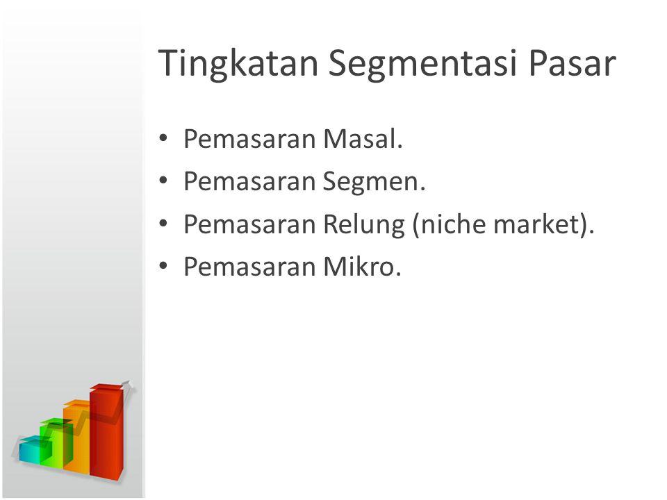 Tingkatan Segmentasi Pasar Pemasaran Masal. Pemasaran Segmen. Pemasaran Relung (niche market). Pemasaran Mikro.