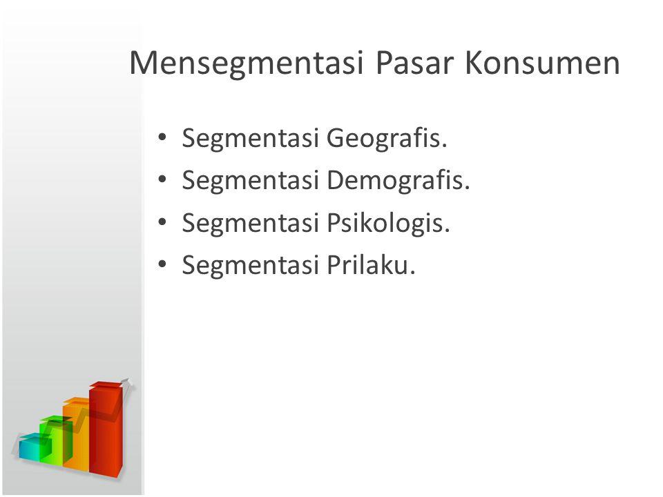 Mensegmentasi Pasar Konsumen Segmentasi Geografis. Segmentasi Demografis. Segmentasi Psikologis. Segmentasi Prilaku.
