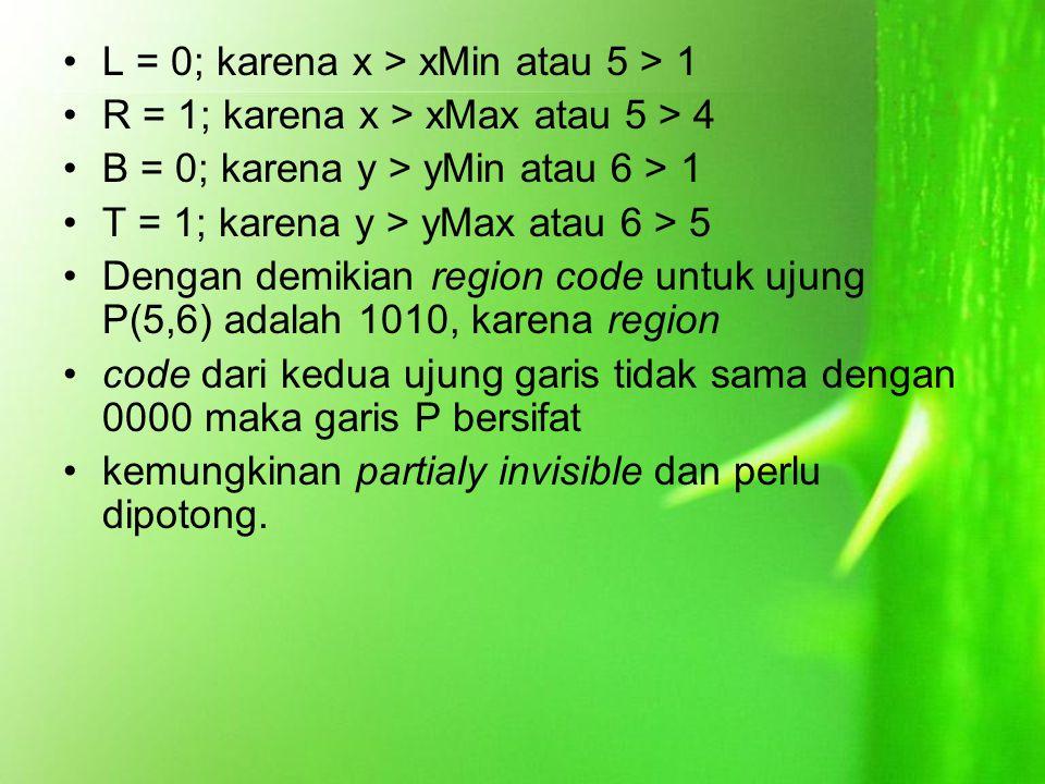L = 0; karena x > xMin atau 5 > 1 R = 1; karena x > xMax atau 5 > 4 B = 0; karena y > yMin atau 6 > 1 T = 1; karena y > yMax atau 6 > 5 Dengan demikia