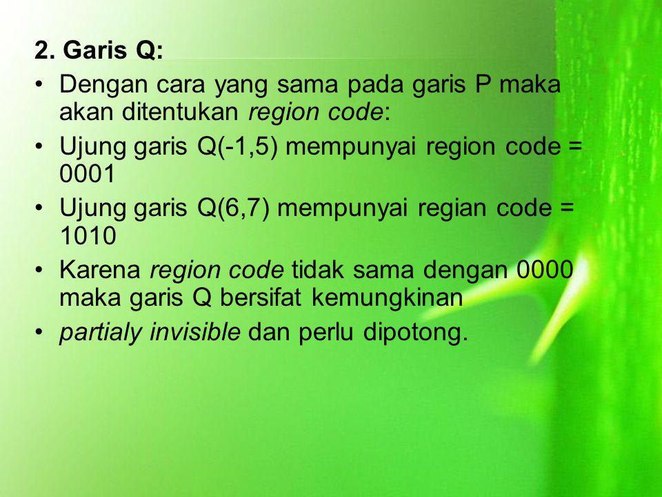 2. Garis Q: Dengan cara yang sama pada garis P maka akan ditentukan region code: Ujung garis Q(-1,5) mempunyai region code = 0001 Ujung garis Q(6,7) m