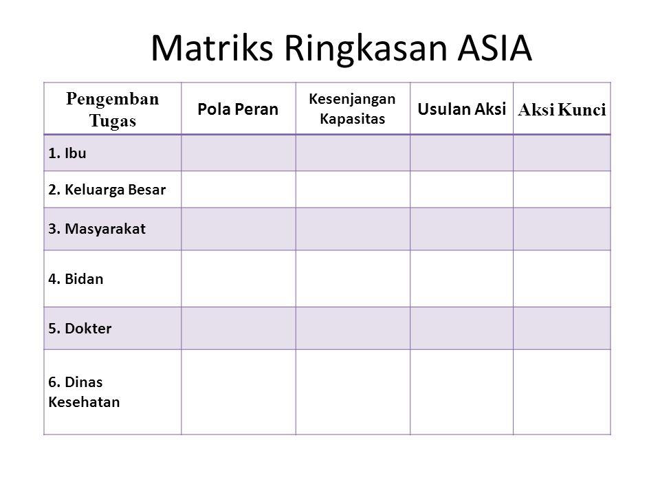 Matriks Ringkasan ASIA Pengemban Tugas Pola Peran Kesenjangan Kapasitas Usulan Aksi Aksi Kunci 1.