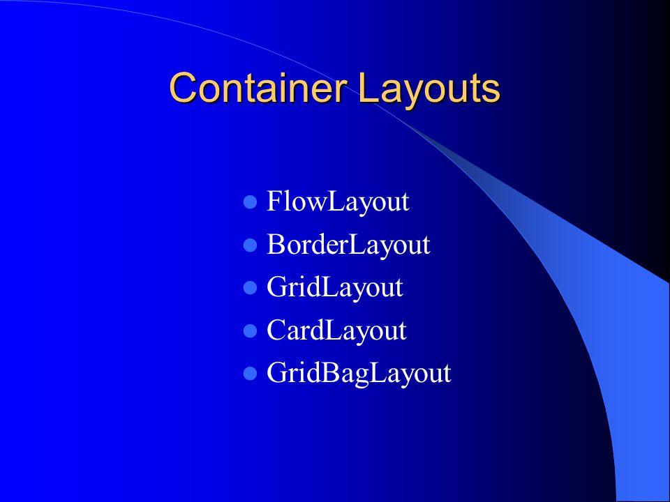 Container Layouts FlowLayout BorderLayout GridLayout CardLayout GridBagLayout