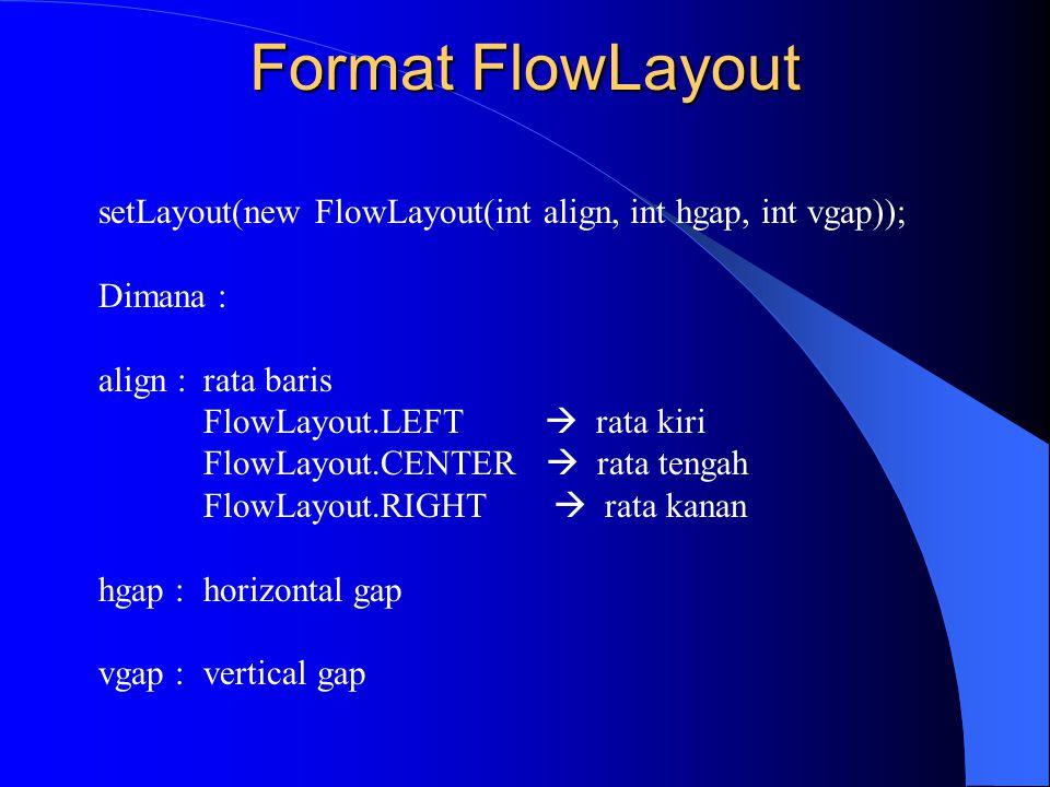 setLayout(new FlowLayout(int align, int hgap, int vgap)); Dimana : align :rata baris FlowLayout.LEFT  rata kiri FlowLayout.CENTER  rata tengah FlowL