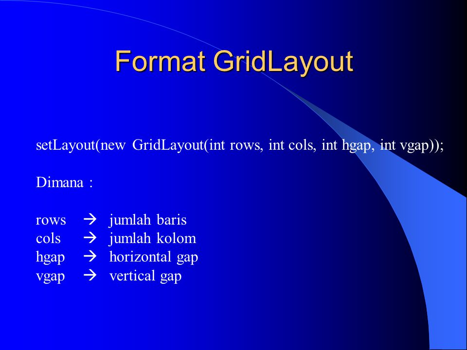 Format GridLayout setLayout(new GridLayout(int rows, int cols, int hgap, int vgap)); Dimana : rows  jumlah baris cols  jumlah kolom hgap  horizonta